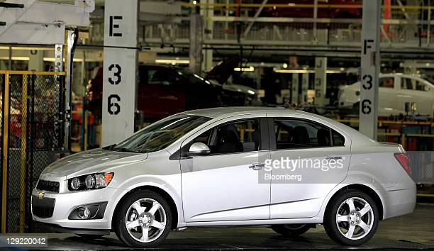 Chevrolet Sonic sits at General Motors Co.'s Orion Assembly Plant in Orion Township, Michigan, U.S., on Friday, Oct. 14, 2011. U.S. President Barack...