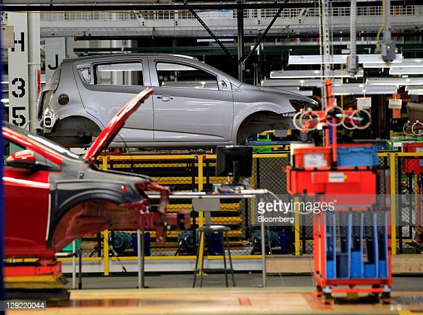 Chevrolet Sonic sits on the production line at General Motors Co.'s Orion Assembly Plant in Orion Township, Michigan, U.S., on Friday, Oct. 14, 2011....