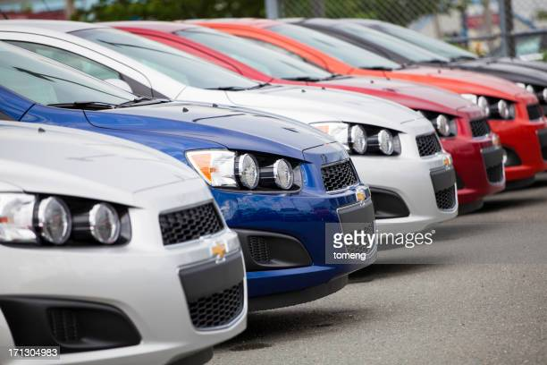 chevrolet sonic vehicles in a row - chevrolet stock pictures, royalty-free photos & images