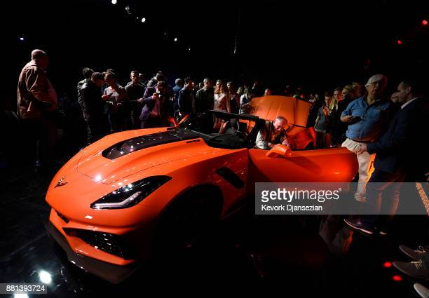 Chevrolet unveils it's new 2019 ZR1 Corvette Convertible during the auto trade show AutoMobility LA at Zynderia Studio November 28 in Los Angeles...