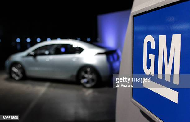 Chevrolet Volt extendedrange electric vehicle sits at an event where Fritz Henderson CEO and President of General Motors announced that GM will...