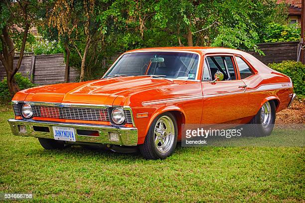 1972 chevrolet yenko nova - 1970s muscle cars stock pictures, royalty-free photos & images