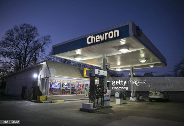 A Chevron Corp gas station stands in Lavonia Georgia US on Monday Jan 29 2018 Chevron Corp is scheduled to release earnings figures on February 2...