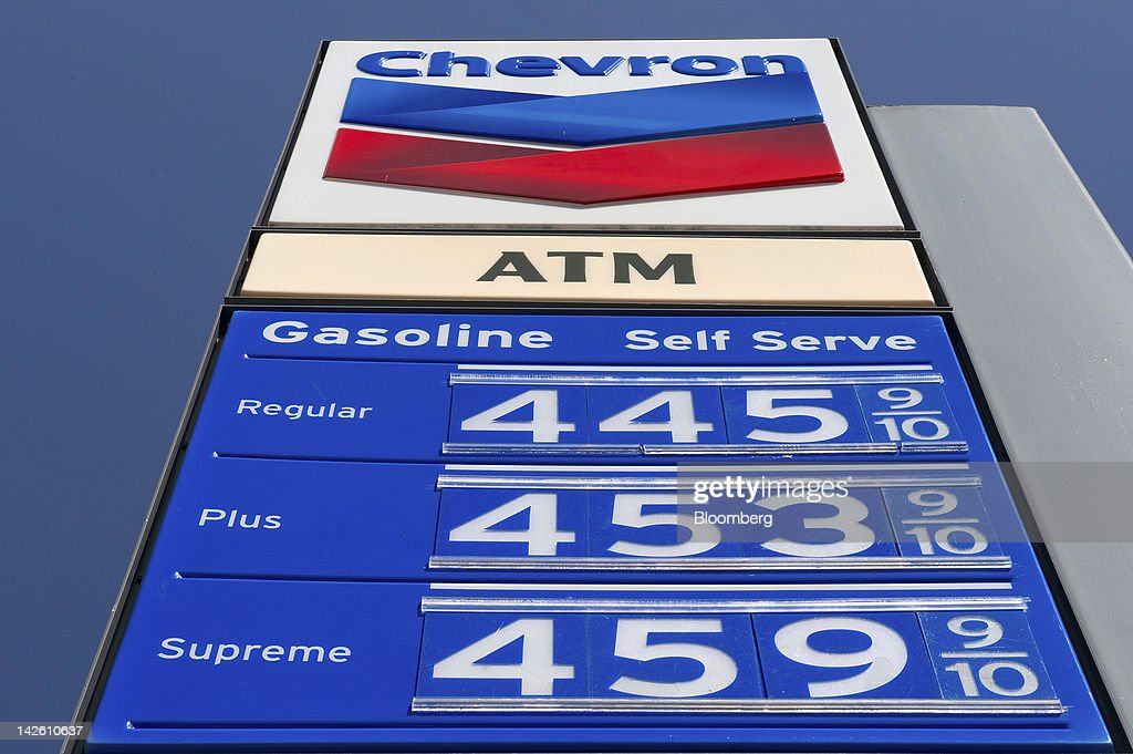 Chevron Corp. signage is displayed at a gasoline station in San Francisco, California, U.S., on Friday, April 6, 2012. Gasoline slid to a four-week low as slower job growth in the U.S. and accelerating inflation in China raised concern that global demand for fuel may shrink. Photographer: David Paul Morris/Bloomberg via Getty Images