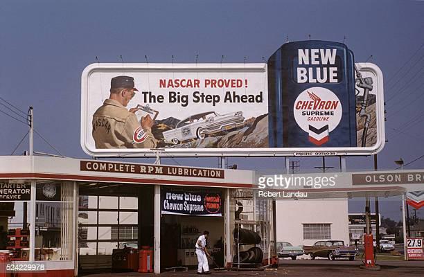 Chevron Gas Station and Billboard