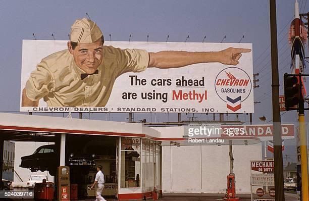 Chevron Gasoline Billboard over Service Station