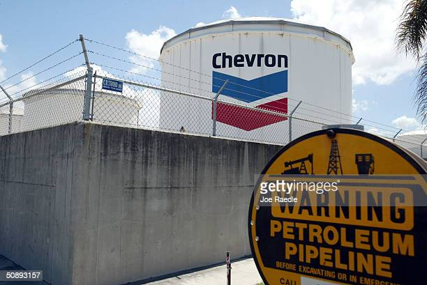 Chevron petroleum storage tank is seen at Port Everglades May 24 2004 in Fort Lauderdale Florida The port is a major petroleum storage and...