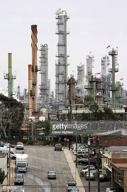 Chevron's El Segundo Refinery is seen while the company's profits rise and the local price of gas hovers well above the $3 per gallon mark on April...