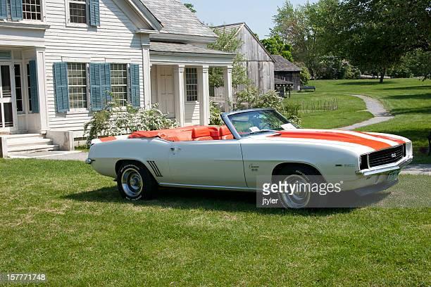 chevy 1969 camaro orange and white convertible - camaro stock photos and pictures