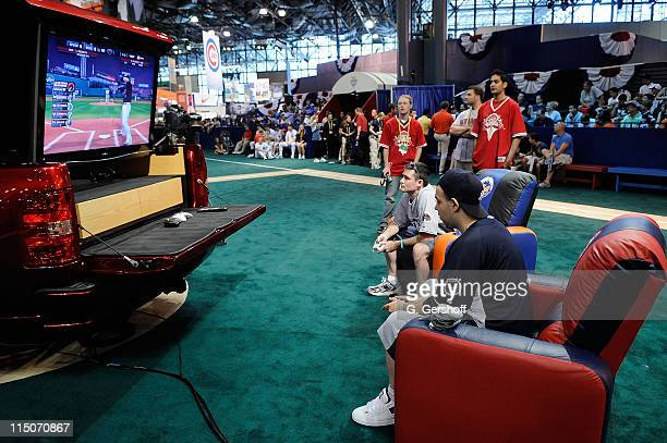 Chevy 2008 Virtual World Series Tournament Finalists Zach Albano and Chris Bratton compete on the Fan Fest Diamond at MLB All Star Game Fan Fest at...