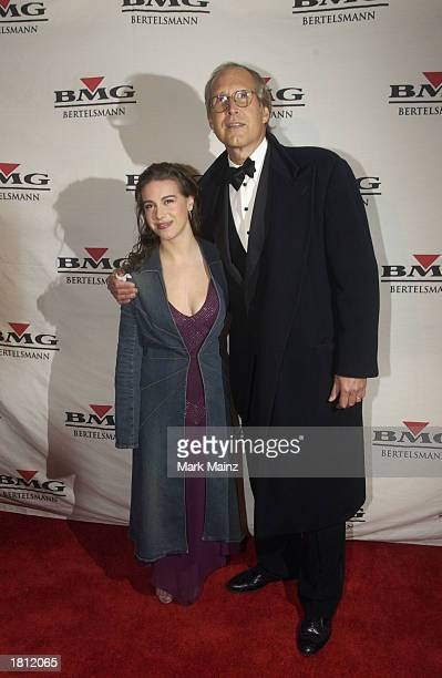 Chevy Chase and his daughter Caley arrive at the BMG PostGrammy Gala to celebrate the 45th Annual Grammy Awards at Gotham Hall February 23 2003