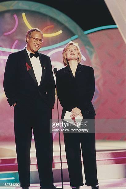 Chevy Chase and Jane Curtin at the American Comedy Awards on February 9 1997 at the Shrine Auditorium in Los Angeles California