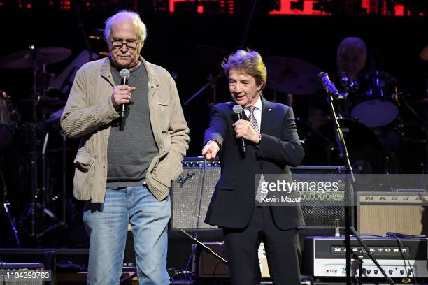 Chevy Chase and Martin Short onstage during the Third Annual Love Rocks NYC Benefit Concert for God's Love We Deliver on March 07 2019 in New York...