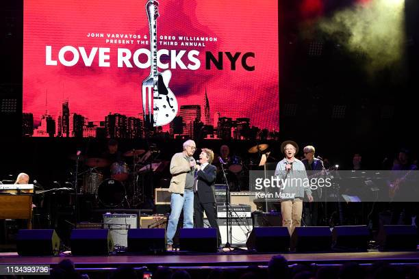 Chevy Chase Martin Short and Bill Murray speak onstage during the Third Annual Love Rocks NYC Benefit Concert for God's Love We Deliver on March 07...