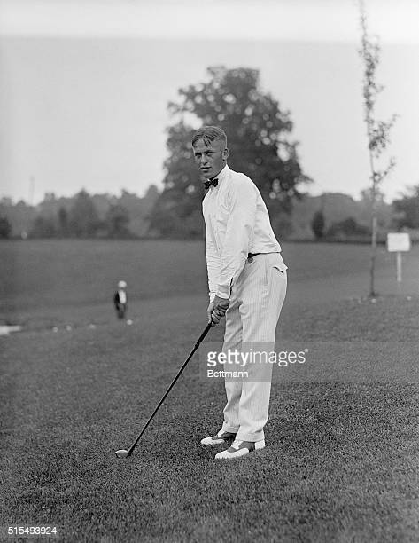 7/18/1921 Chevy Chase MD Bobby T Jones Jr playing in the National Open Golf Championship on the Columbia Country Club course Chevy Chase Maryland...