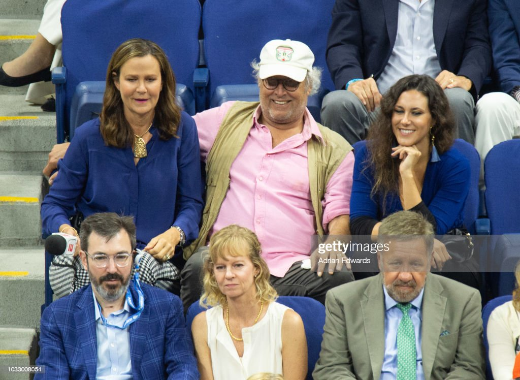 Chevy Chase with his daughter at Day 12 of the US Open held at the USTA Tennis Center on September 7, 2018 in New York City.
