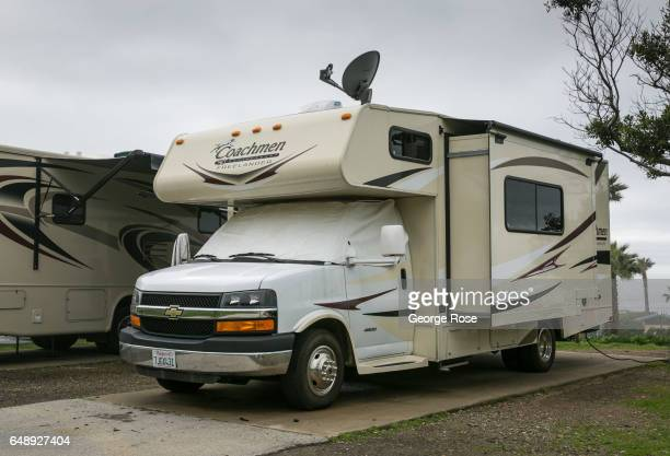 Chevy Coachmen Freelander motorhome parked at a beach campsite features a satellite dish as viewed on February 8 in Jalama Beach California Because...