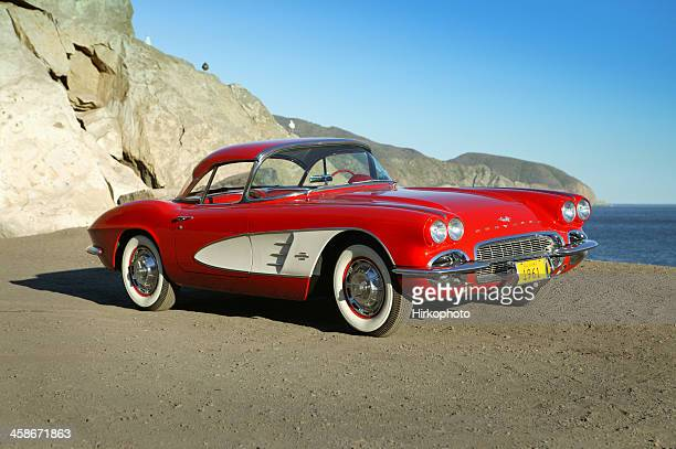 chevy corvette, 1961 at the beach - chevrolet corvette stock pictures, royalty-free photos & images
