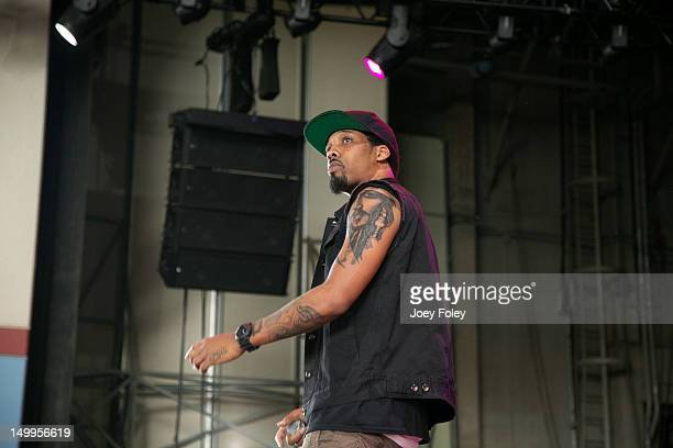 Chevy Woods performs onstage on the opening night of the 'Under the Influence Tour' at Riverbend Music Center on July 26 2012 in Cincinnati Ohio