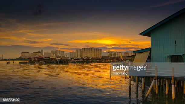 Chew Jetty with beautiful sunrise, Penang ,Malaysia