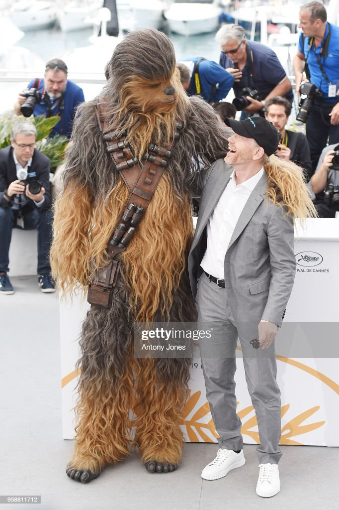 Chewbacca (in costume) and director Ron Howard attend the 'Solo: A Star Wars Story' official photocall at Palais des Festivals on May 15, 2018 in Cannes, France.