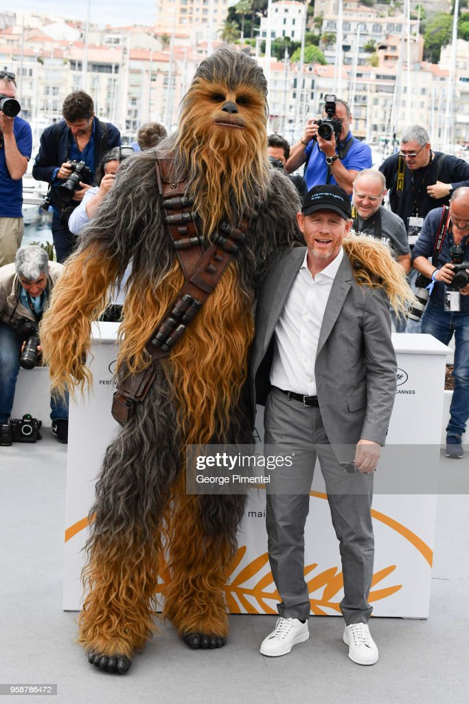 Chewbacca and director Ron Howard attends the photocall for 'Solo: A Star Wars Story' during the 71st annual Cannes Film Festival at Palais des Festivals on May 15, 2018 in Cannes, France.
