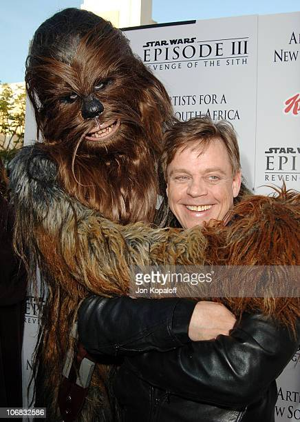 Chewbacca and Mark Hamill during 'Star Wars Episode III Revenge of The Sith' Premiere to Benefit Artists for a New South Africa Charity Arrivals at...