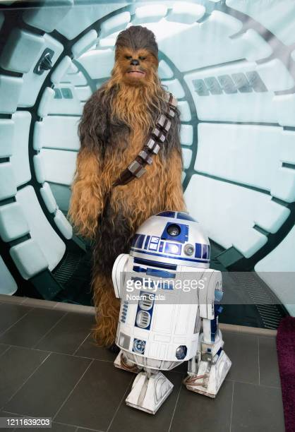 Chewbacca and R2D2 visit the SiriusXM Studios to promote 'Star Wars The Rise of Skywalker' on March 10 2020 in New York City