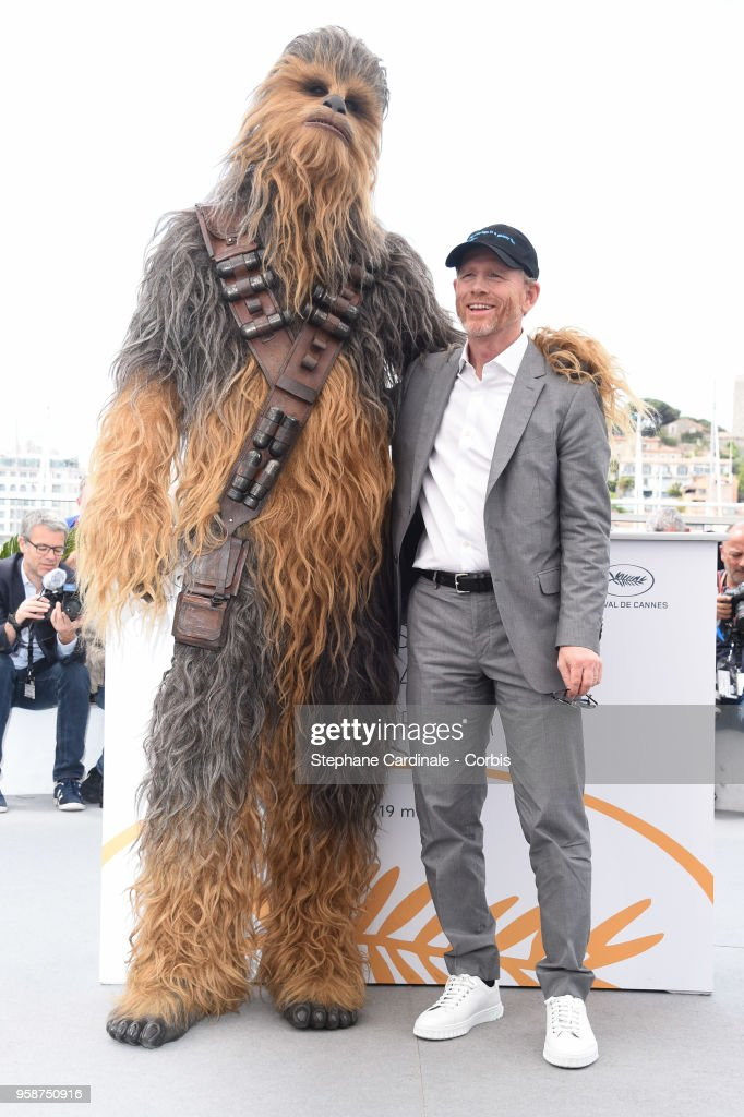 Chewbacca and Ron Howard attend 'Solo: A Star Wars Story' Photocall during the 71st annual Cannes Film Festival at Palais des Festivals on May 15, 2018 in Cannes, France.