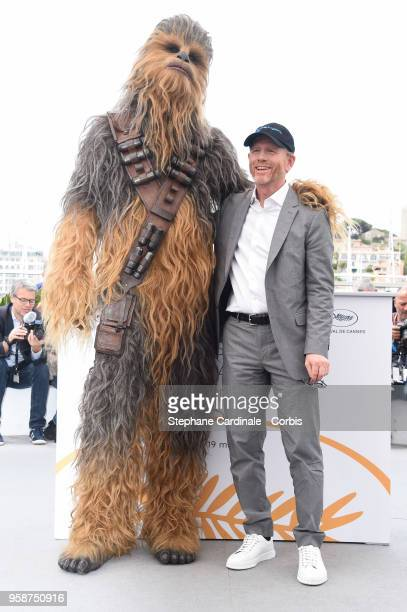 Chewbacca and Ron Howard attend 'Solo A Star Wars Story' Photocall during the 71st annual Cannes Film Festival at Palais des Festivals on May 15 2018...