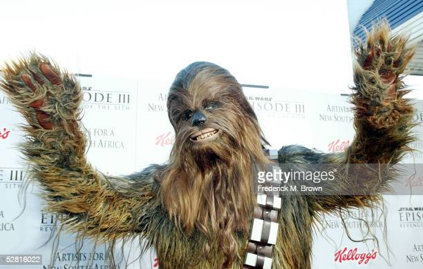 Chewbacca arrives at the 'Star Wars Episode III Revenge Of The Sith' Los Angeles Premiere at the Mann Village Theatre on May 12 2005 in Westwood...