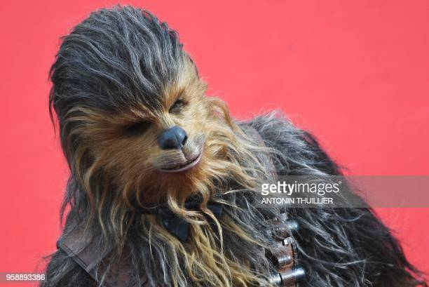 """Chewbacca arrives on May 15, 2018 for the screening of the film """"Solo : A Star Wars Story"""" at the 71st edition of the Cannes Film Festival in Cannes,..."""