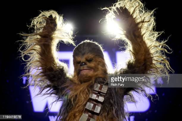 """Chewbacca attends the Premiere of Disney's """"Star Wars: The Rise Of Skywalker"""" on December 16, 2019 in Hollywood, California."""