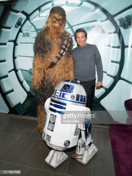 Chewbacca Chris Russo and R2D2 visit the SiriusXM Studios on March 10 2020 in New York City