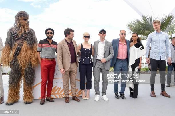 Chewbacca Donald Glover Alden Ehrenreich Emilia Clarke director Ron Howard Woody Harrelson Thandie Newton and Joonas Suotamo attend Solo A Star Wars...