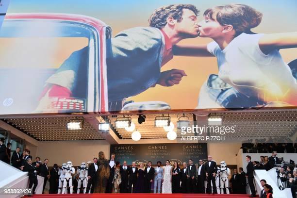 Chewbacca, Finnish actor Joonas Suotamo, British actress Thandie Newton, US actor Woody Harrelson, US director Ron Howard, British actress Emilia...