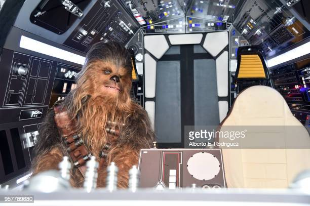 """Chewbacca is seen on The Millennium Falcon at a press conference in Los Angeles on May 12, 2018 for """"Solo: A Star Wars Story,"""" which opens in U.S..."""