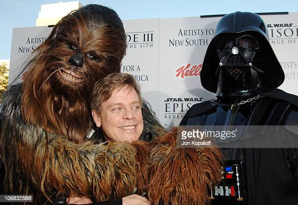 Chewbacca Mark Hamill and Darth Vader during 'Star Wars Episode III Revenge of The Sith' Premiere to Benefit Artists for a New South Africa Charity...