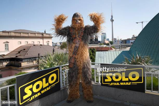 Chewbacca poses during at photocall 'Solo A Star Wars Story' at the Hotel De Rome on May 4 2018 in Berlin Germany