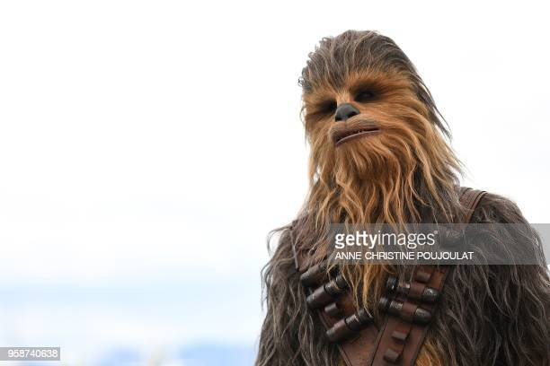 Chewbacca poses on May 15 2018 during a photocall for the film Solo A Star Wars Story at the 71st edition of the Cannes Film Festival in Cannes...