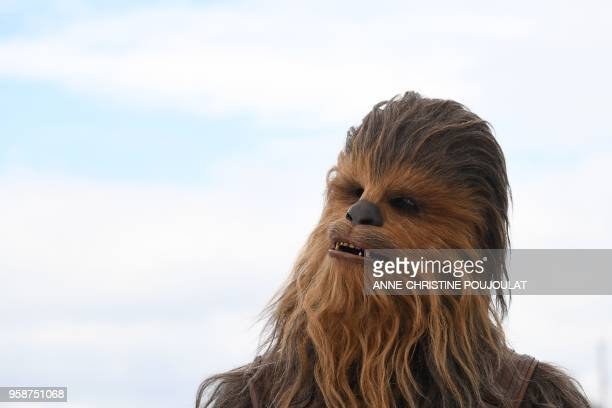 """Chewbacca poses on May 15, 2018 during a photocall for the film """"Solo : A Star Wars Story"""" at the 71st edition of the Cannes Film Festival in Cannes,..."""