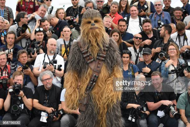 Chewbacca poses on May 15 2018 during a photocall for the film 'Solo A Star Wars Story' at the 71st edition of the Cannes Film Festival in Cannes...