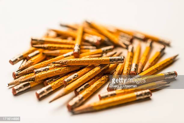 Chewed pencils on white