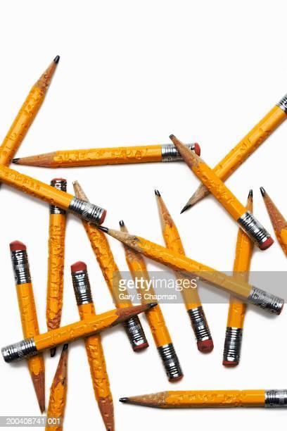 Chewed pencils, overhead view