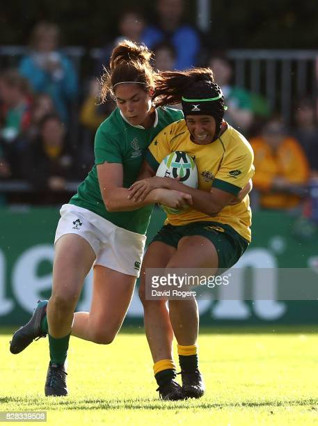 Cheyenne Campbell of Australia is tackled by Nora Stapleton of Ireland during the Women's Rugby World Cup 2017 match between Ireland and Australia on...
