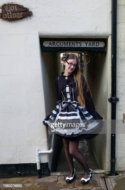 Cheyenne Hornbuckle from Darlington poses for a picture as she attends Whitby Goth Weekend on October 27 2018 in Whitby England The Whitby Goth...