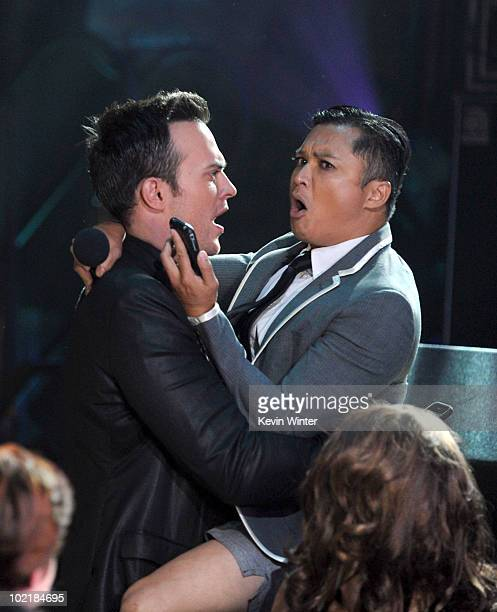 """Cheyenne Jackson and Alec Mapa speak onstage during Logo's 3rd annual """"NewNowNext Awards"""" held at The Edison on June 8, 2010 in Los Angeles,..."""