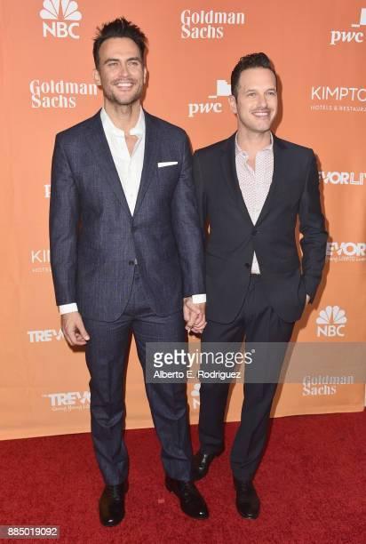 Cheyenne Jackson and Jason Landau attend The Trevor Project's 2017 TrevorLIVE LA on December 3 2017 in Beverly Hills California