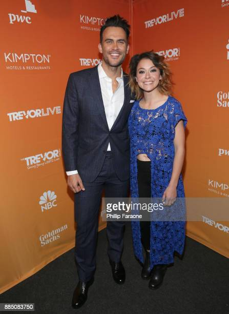 Cheyenne Jackson and Tatiana Maslany attend The Trevor Project's 2017 TrevorLIVE LA Gala at The Beverly Hilton Hotel on December 3 2017 in Beverly...