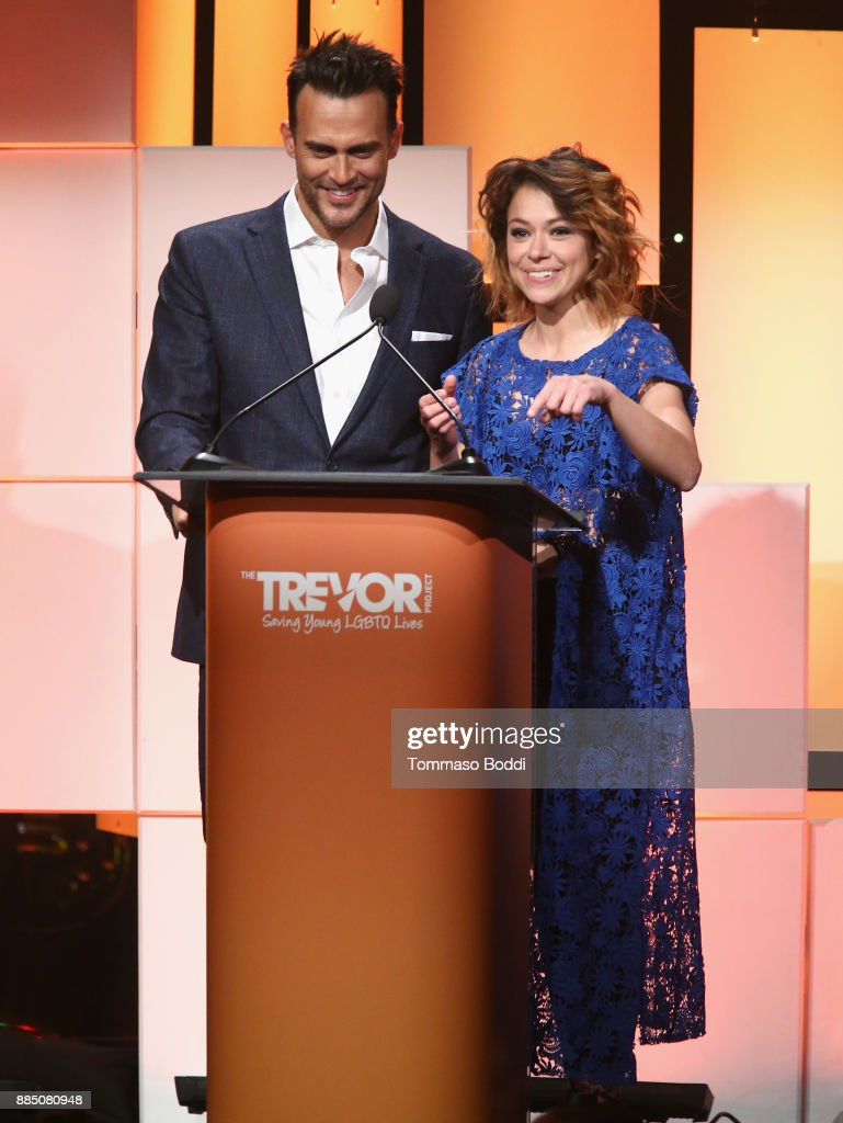 Cheyenne Jackson (L) and Tatiana Maslany speak onstage during The Trevor Project's 2017 TrevorLIVE LA Gala at The Beverly Hilton Hotel on December 3, 2017 in Beverly Hills, California.